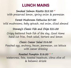Lunch menu, New Plymouth restaurant